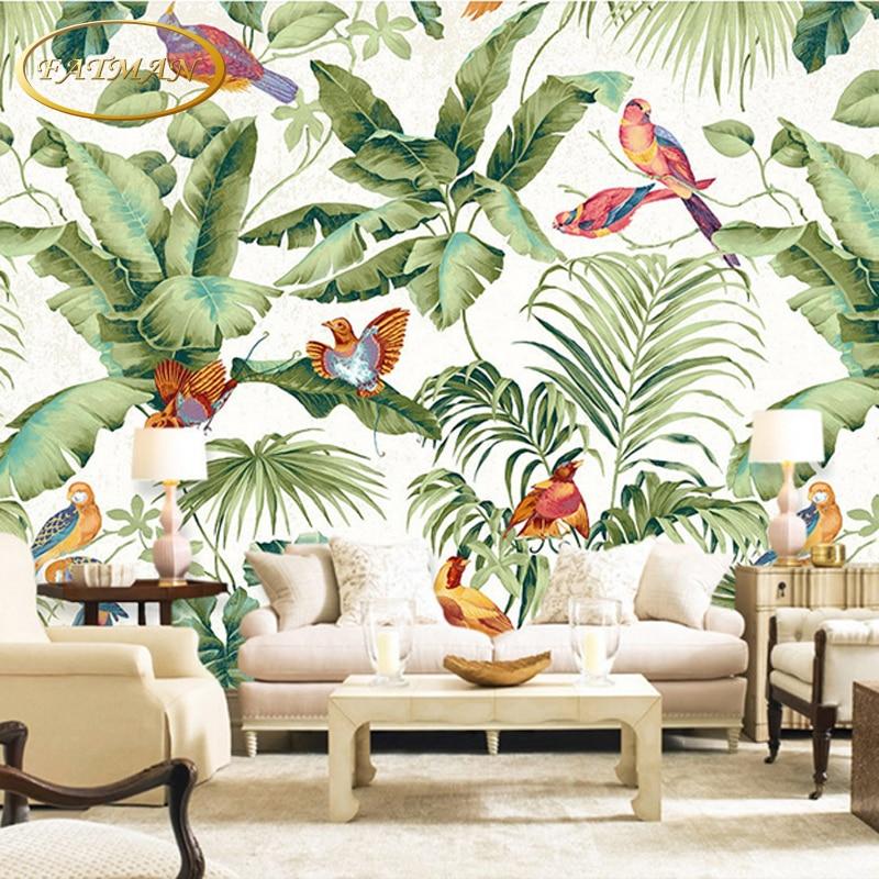 Aliexpress Com Buy Custom D Photo Wallpaper Tropical Garden Flower Bird Personality Wallpaper
