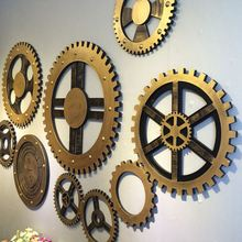 Vintage Home Bar Club Wall Decorations Wooden Crafts Wheel Gear Design Wooden Ornaments(China)