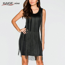 Buy KAIGE NINA Sexy tassel clubwear Nightclubs dresses black color sleeveless women's sexy dress Hot Sale New 2232 for $21.53 in AliExpress store