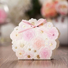 50Pcs/lot Pink flower Europwedding gift candy box baby shower gift bag wedding favors and gifts birthday party decorations kids