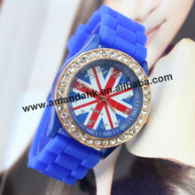 60pcs/lot,England silicone jelly wrist watch silicone flag watches 2013 hot sale available national watch(China)