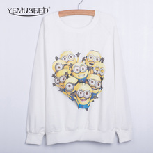 YEMUSEED Harajuku Europe 3D Design Cartoon Naughty Little Yellow People Print Pullover Cotton Blend Hoodies Sweatshirts