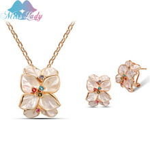 Miss Lady New 2017 Rose Gold color Rhinestone Crystal Vintage Rose flower African costume Jewelry Sets Fashion for women MLL013