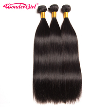 Wonder Girl Peruvian Straight Hair Human Hair Bundles Natural Color Can Buy 4 or 3 Bundles Non Remy Hair Extension Can Be Dyed(China)