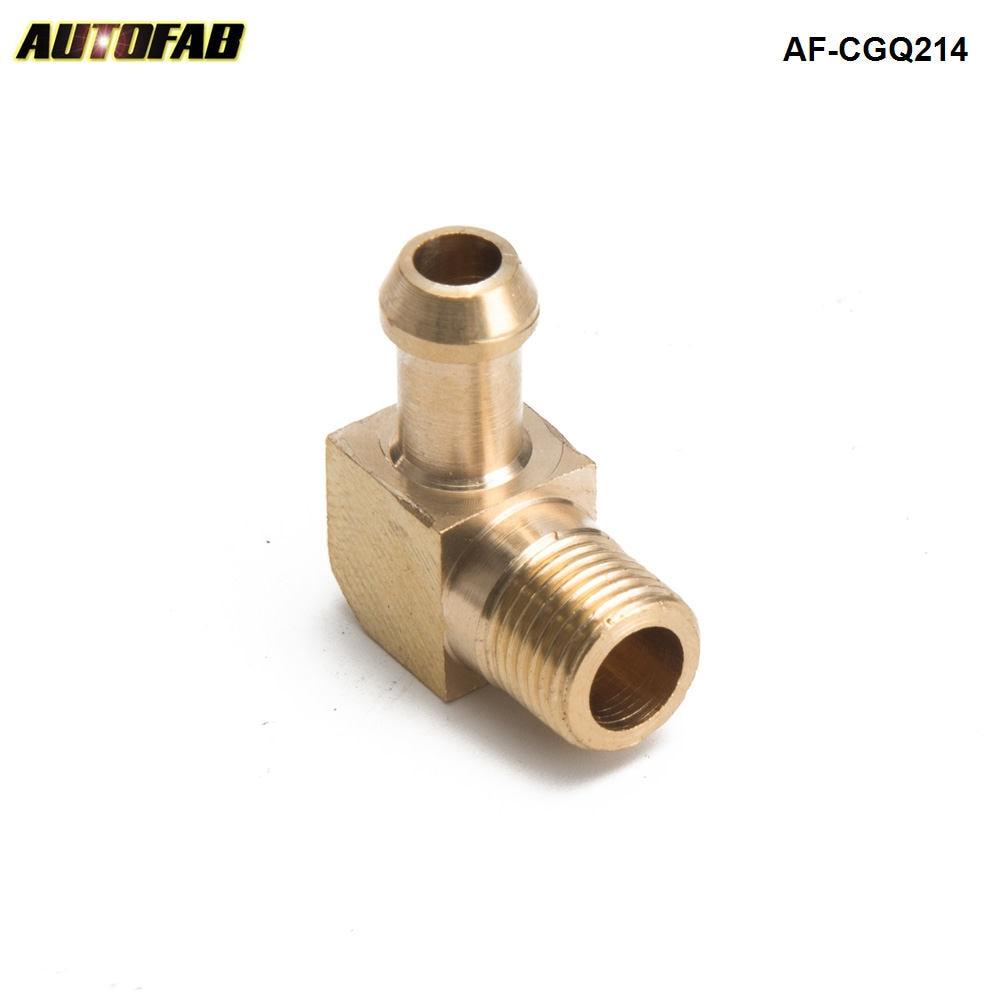 "AUTOFAB -90 Degree Elbow 1/8"" Hose Fitting Air ,Oil, Gas ,Fuel Hose Turbocharger Compressor Brass Boost AF-CGQ214"