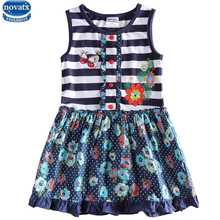 2015 NOVA striped baby girl dresses nova kids cartoon dress summer fashion kids dress nova kids wear sleeveless dresses girls(China)