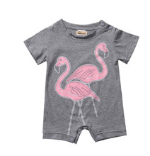 2017 Grey Romper Red Bird Print Logo Cotton Toddler Newborn Baby Boy Girl Kid Casual Jumpsuit Outfit Clothes