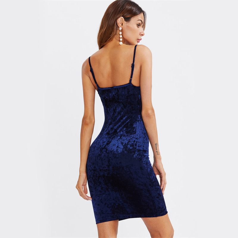 COLROVIE Strappy Cross Club Velvet Dress 2017 Women Royal Blue Fitting Bodycon Slip Summer Dresses Sexy Slim Elegant Midi Dress 6