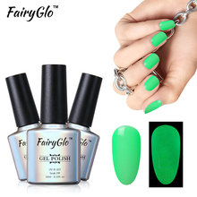 FairyGlo 10ml Night Glow Gel Varinsh Soak Off Gel Lacquer UV LED Lamp Lak Gel Paint Long Lasting Candy Color Gelpolish Luck Ink