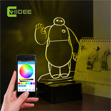 3d Lampara Baymax Bluetooth Speaker Kid Sleep Music Lamp Phone Control Home Lighting Table Lamps for Children Bedroom Nightlight