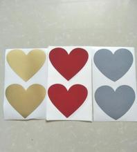 50Pcs Scratch Off Sticker 60x70mm Heart Shape Gold silver red Blank For Secret Code Cover Home Game Wedding Message Sticker(China)