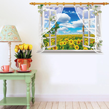 Fake Window Wall Stickers Removable PVC 3D Open the Window Sunflower Landscape Home Decor Wall Papers Decals(China)