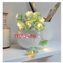 Novelty cherry Blossom 2M 20 LED Flower String light Fairy Lights LED Lamp with AA Battery Wedding party Garland Tree decoration(China)