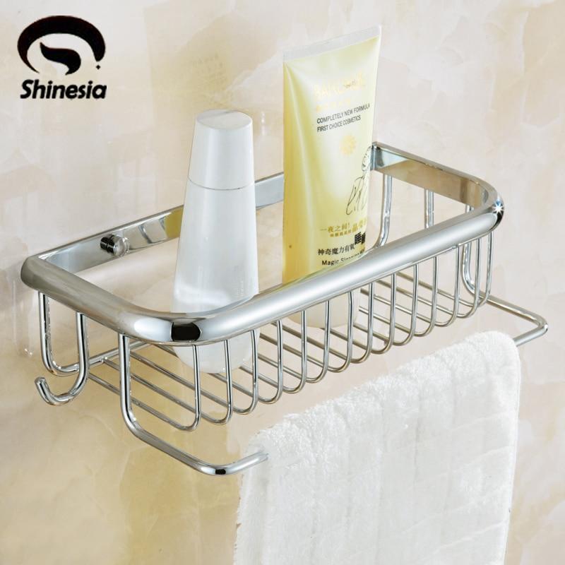 Solid Brass Chrome Bathroom Shelf Bathroom Accessories Makeup Storage Wall Mount<br>