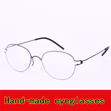 Pure hand-made with screwless hinge glasses frame men myopia eyeglasses frames men brand optical spectacle with original case(China)