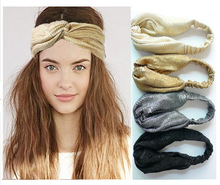 Glitter Elastic Stretch Twist Headbands Turban Headwrap Headwear Women Bandanas Twist Hair Bands Turban Headpieces(China)