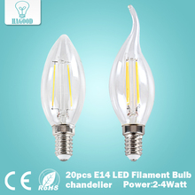 20pcs 2W 4W E14 220V 230V 240V LED Filament Bulb clear grass Edison light bulb led ceiling chandelier light bulb Home Decoration