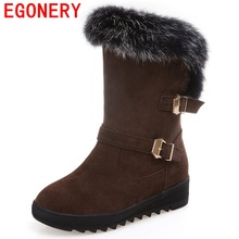 EGONERY ankle boots snow new arrival concise buckle slip-on fur casual winter rabbit hair round toe grind arenaceous warm shoes