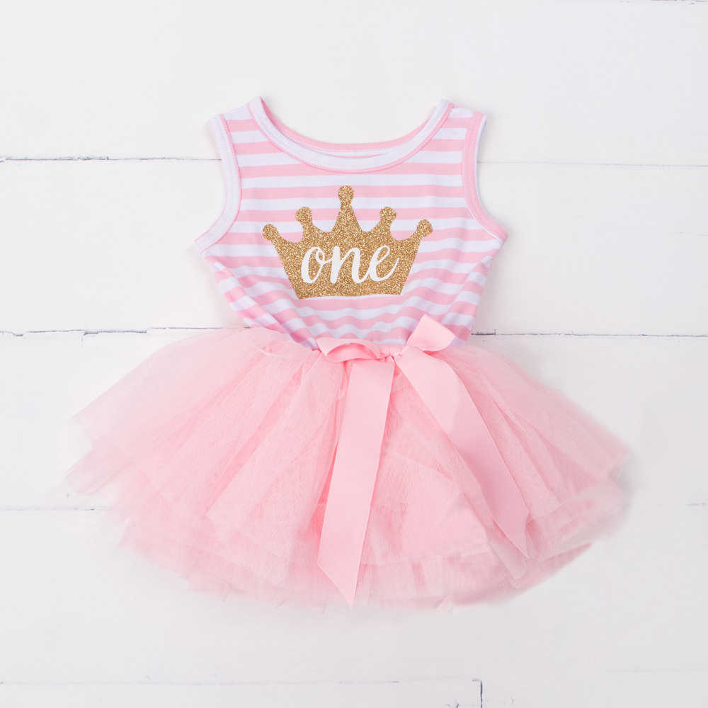 70fe474f8 Baby Girls 1 Year Birthday Dress Vest Stripe Dress Casual Outfit 1st 2nd  3rd Birthday Toddler
