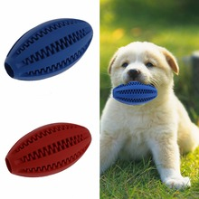 Pet Dog Chew Toy Food Dispenser Rugby Football Bite-Resistant Clean Teeth Natural Rubber