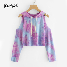 ROMWE Tie Dye Open Shoulder Crop Hooded Tee 2016 New Autumn Multicolor Tie Dye Top Cold Shoulder Long Sleeve Cute T Shirt(China)