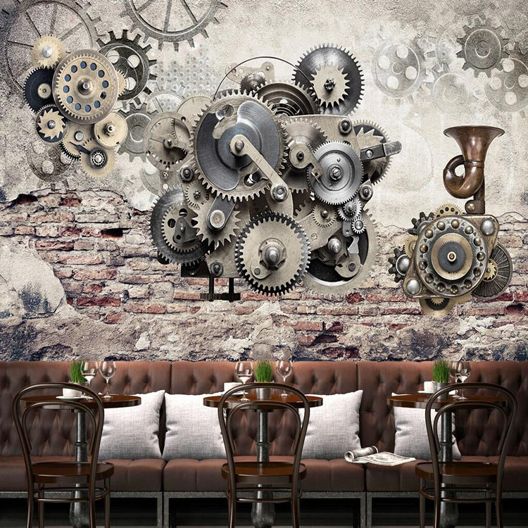 Free Shipping Industrial wind 3D rough cement brick wall retro graffiti wallpaper leisure bar KTV living room coffee shop mural<br><br>Aliexpress