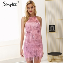 Buy Simplee Backless tie tassel mesh sequin sexy dress Halter embroidery mini dress Black party luxury short dresses women summer