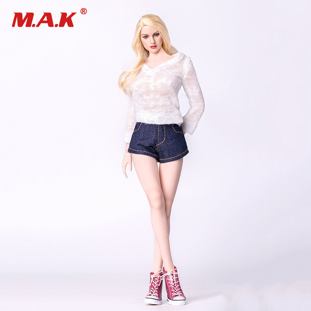 1/6 Female action figure clothes for woman doll Sweater &amp; Denim Shorts &amp; Shoes Clothes Suits For 12 PH HT TTL Body Figure<br>