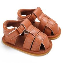 Baby Toddler Boys Cute Crib Shoes Anti-Slip Walker Soft PU Leather Sandals Sole Shoes Baby Boy Shoes Boys Summer Sports Shoes