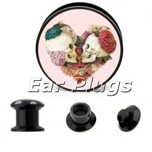 1 pair Forever In My Heart plug gauges black acrylic screw flesh tunnel ear plug ear expander body jewelry APP810
