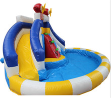China manufacturer giant jumping inflatable slide with pool