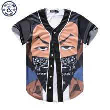 Mr.Bao Long 2017 Brand Clothing Funny Cool Men Baseball Jerseys T shirt 3D Print Cartoon Masked Boy Short Sleeve T-shirt Tee Top