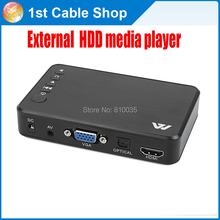 full 1080p USB External HDD Media Player box HDMI/VGA/AV out supported with remote in retail pack
