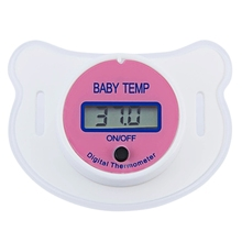 New Babies Nipple Soft Portable Convenient Blue Pink LCD Digital Mouth Pacifier Thermometer with Protective Storage Cover