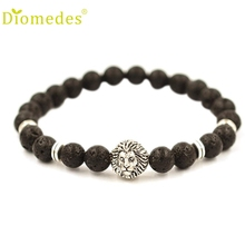 Diomedes Sliver Color Lion Bracelet 2016 Fashion Women Men Elastic Rope Chain Beaded Bracelet Popular Jewelry