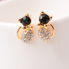 E120 Pendientes New Brinco Fashion Animal Bijoux Cute Crystal Bow Gem Kitty Cat Stud Earrings For Women Wedding Girl Jewelry