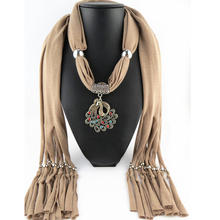 New Fashion Women Crystal Peacock Pendant Scarf Necklace Wrap Jewelry Luxury Feminina Cotton Scarves Necklace Summer Jewelry