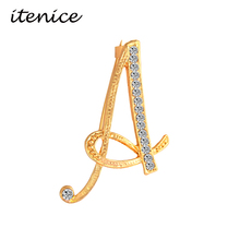 Itenice 2017 New Fashion Jewelry Classic 26 Letters Brooches Metal Gold Color Crystal Pins Clothing Accessories For Women(China)