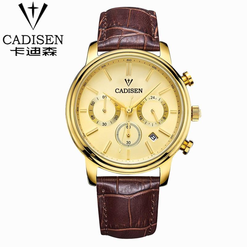 Cadisen Luxury Watch Men 6 Pointers Auto Date Genuine Leather Quartz-Watch 30M Water Resistant Watch Men Reloj Hombre Gold Dial<br>