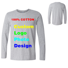Custom Logo Adversting Photo Printed Mens T Shirts Long Sleeve Clothes Camisa Masculina O Neck Tee Shirt Homme Pure Cotton 2017(China)