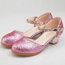 HaoChengJiaDe Girls Sandals Kids Crystal Shoes High Heels Students Dance Party Shoes Children Leather Fashion Bow Pink Princess