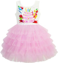 Sunny Fashion Girls Dress Birthday Princess Ruffle Dress Cake Balloon 2018 Summer Wedding Party Dresses Clothes Size 3-10(China)