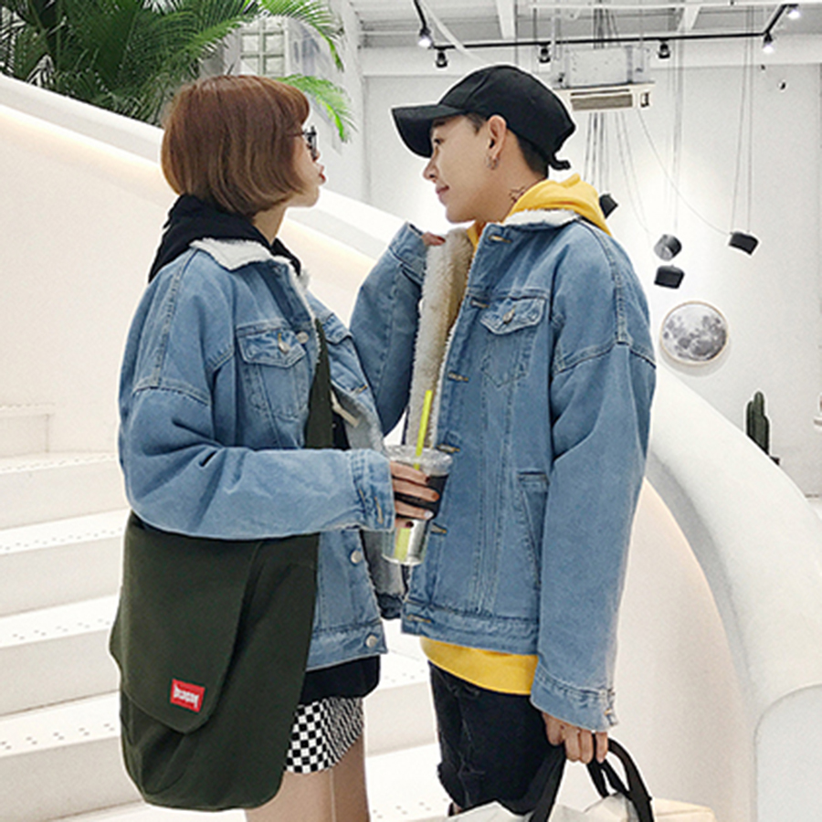 Short Casual Winter Jacket Men Denim Coat Lamb Couple Parka Men Fleece Jackets Mens Korean Veste Homme Hiver Winter Clothes MF40