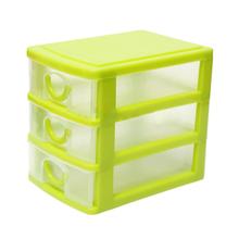 Practical Boutique Storage Box with 3 Drawers Table Storage Box Jewelry Organizer Boxes Green(China)