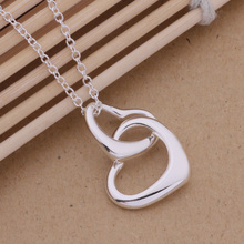 Romantic Silver Jewelry Double Heart Necklace Loving Gift For Women AN235
