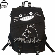 [NEWTALL] Miyazaki Hayao Article My Neighbor Totoro Black Canvas Shoulder Bag Student Backpack Free Shipping A1005