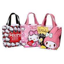 New Fashion Hello Kitty Little Twin Stars My Melody Girls Woman Small Zipper Canvas Handbags Kids Lunch Bags For Children(China)