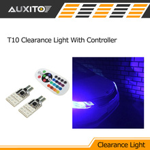 T10 w5w Car LED Parking Clearance Light RGB Remote Control for toyota corolla avensis yaris rav4 auris hilux camry prius prado
