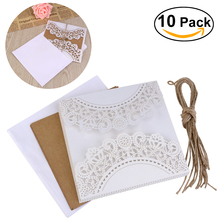10Pcs Hollow Out Decorative Wedding Invitation Card Greeting Card Congratulation Card With Envelope & Hessian Ropes (White)