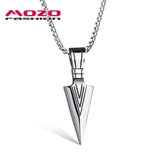 New 2016 Men Stainless Steel Arrow Pendant Choker Necklace Collier Fashion Personalized Gift Jewelry Accessories 2 Color MGX1070(China)
